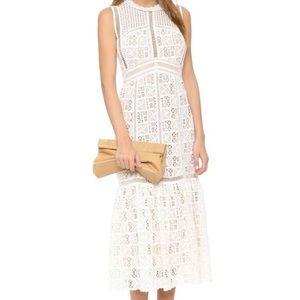 Rebecca Taylor BLACK crochet lace maxi dress Sz 2